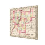 Peoria, Woodford, condados de Tazewell Impresión En Tela