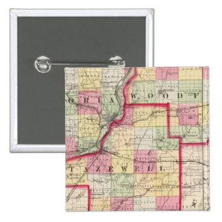 Peoria, Woodford, condados de Tazewell Pin Cuadrada 5 Cm