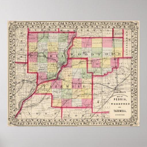 Peoria, Woodford, condados de Tazewell Poster