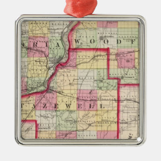 Peoria, Woodford, Tazewell counties Metal Ornament