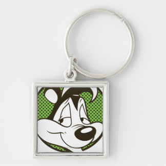 Pepé Dotty Icon Silver-Colored Square Keychain