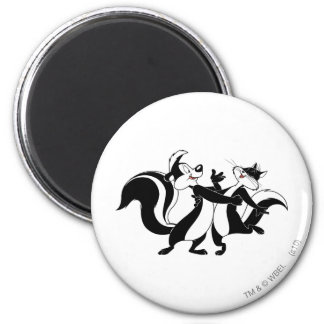 Pepe Le Pew and Penelope 3 2 Inch Round Magnet