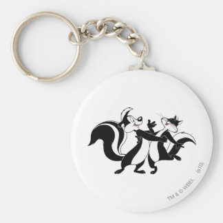 Pepe Le Pew and Penelope 3 Basic Round Button Keychain