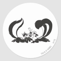 Pepe Le Pew and Penelope 4 Classic Round Sticker