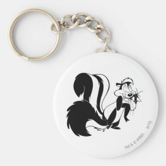 Pepe Le Pew and Penelope Basic Round Button Keychain