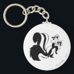 """Pepe Le Pew and Penelope Keychain<br><div class=""""desc"""">Pepe le Pew hugging Penelope</div>"""