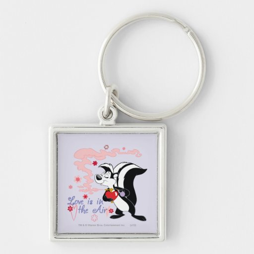 Pepe Le Pew Love is in the Air Silver-Colored Square Keychain