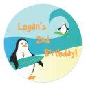 Pepe Surfer Penguin Little Kid Birthday Sticker sticker