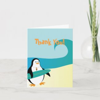 Pepe Surfer Penguin Thank You Card card