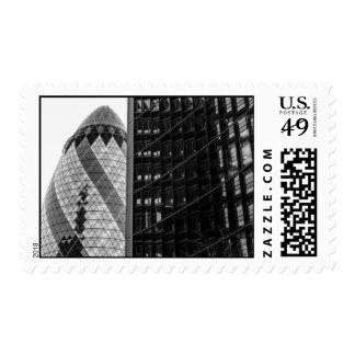 Pepinillo blanco y negro, arquitectura de Londres Franqueo