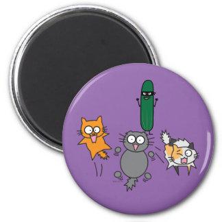 Pepino que asusta los gatos - gato contra susto imán redondo 5 cm