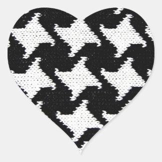 Pepita blanco y negro pegatina en forma de corazón