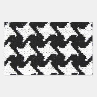 Pepita blanco y negro pegatina rectangular