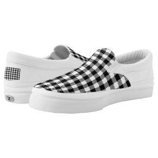 Pepita Squares pattern black & white + your ideas Slip-On Sneakers
