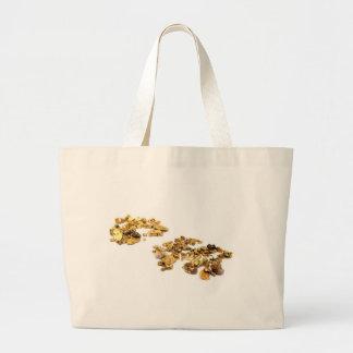 Pepitas de oro en blanco bolsa tela grande