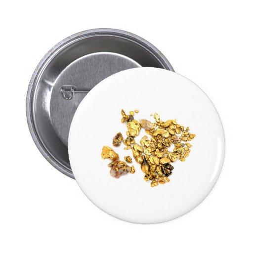 Pepitas de oro en blanco pin redondo 5 cm