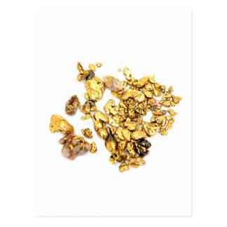 Pepitas de oro en blanco postales