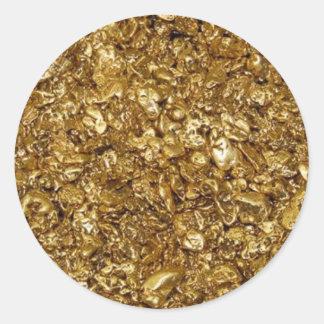 Pepitas de oro pegatina redonda