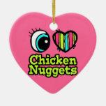 Pepitas de pollo brillantes del amor del corazón I Ornaments Para Arbol De Navidad