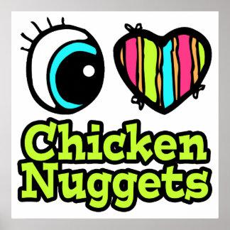 Pepitas de pollo brillantes del amor del corazón I Impresiones