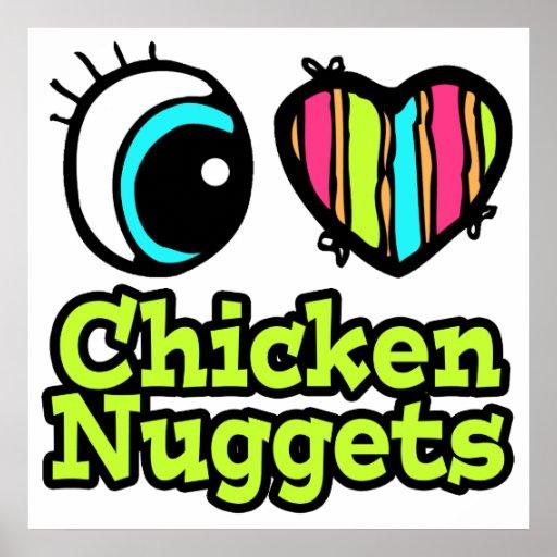 Pepitas de pollo brillantes del amor del corazón I Póster