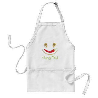 pepper and mushroom happy face. adult apron