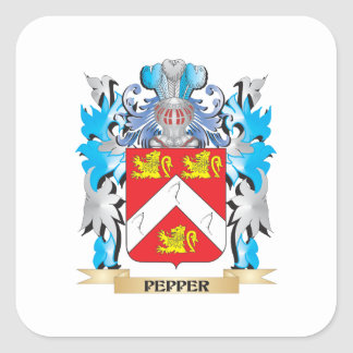 Pepper Coat of Arms - Family Crest Square Stickers