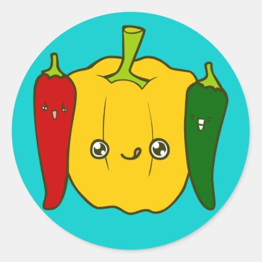 Pepper Family Doodle Art Sticker
