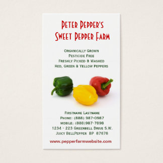 Pepper Farm - Red Yellow & Green Bell Peppers Business Card