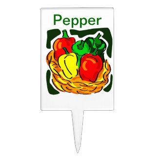 Pepper garden or pot marker cake topper