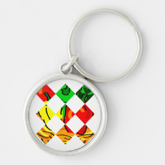 Pepper graphic colorful diamond tile keychain