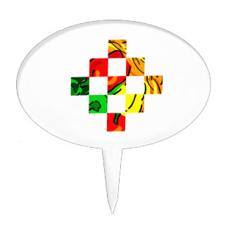 pepper graphic colorful square tiles cake toppers