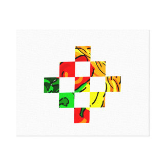 pepper graphic colorful square tiles canvas print
