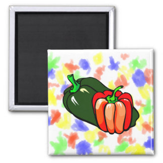 Pepper green and red graphic 2 inch square magnet