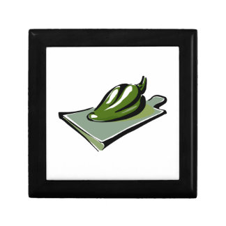Pepper green on cutting board graphic gift box