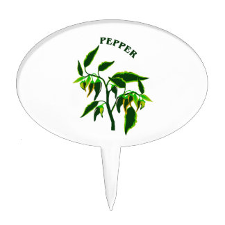 Pepper green plant graphic with word pepper cake topper