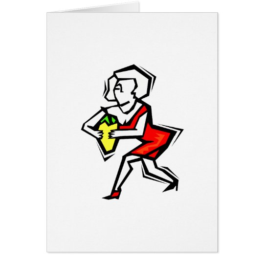 Pepper in hand of woman in red dress card