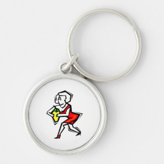 Pepper in hand of woman in red dress Silver-Colored round keychain