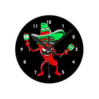Pepper maracas sombrero sunglasses clock