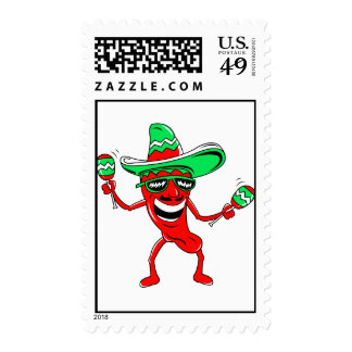 Pepper maracas sombrero sunglasses.png postage stamps
