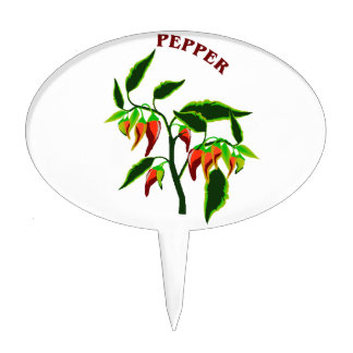 Pepper plant graphic with word pepper cake topper