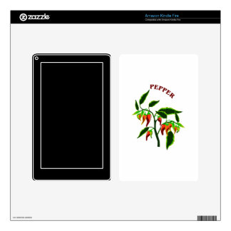 Pepper plant graphic with word pepper decal for kindle fire