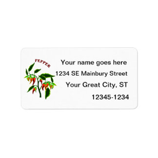 Pepper plant graphic with word pepper personalized address labels