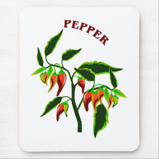 Pepper plant graphic with word pepper mouse pad