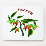 Pepper plant graphic with word pepper mouse pads