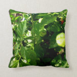 pepper plant with one green pepper throw pillow