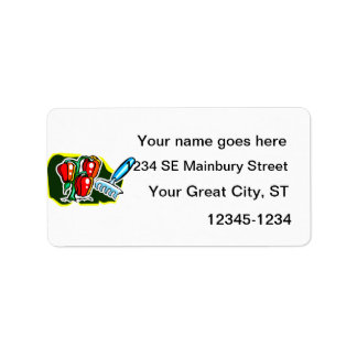 Pepper plant with rake graphic personalized address label