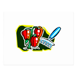 Pepper plant with rake graphic postcard