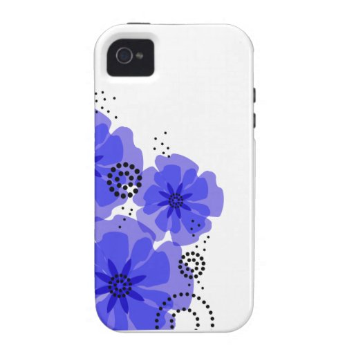 Pepper Poppies cobalt blue Case-Mate iPhone 4 Cases