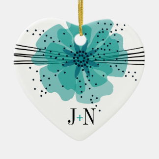 Pepper Poppies photo - teal Ceramic Ornament